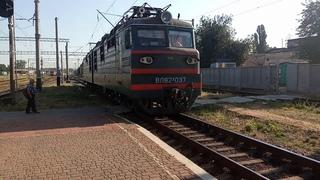 Смена локомотивов вл80т-1264 на вл82м-037 поезда #8 Одесса-Харьков ст.Полтава южная