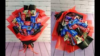 Букет из конфет! Сделала красивый букет из газировки и конфет в подарок на день рождения.