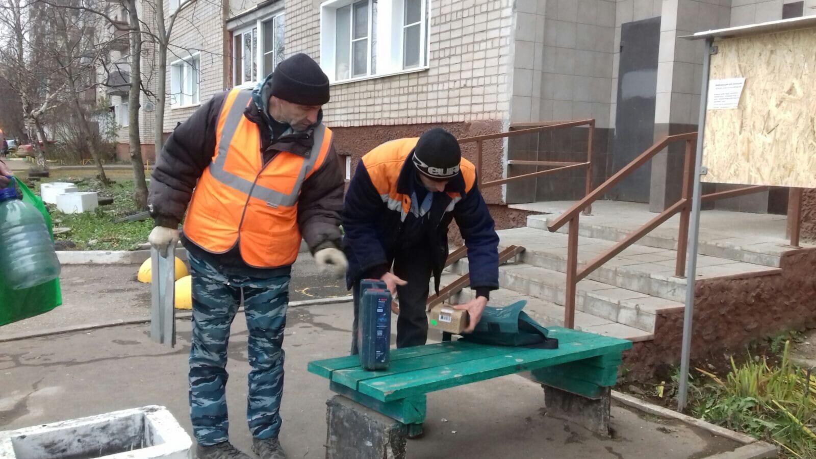 Ул. Р. Ердякова, 16. Ремонт скамейки.
