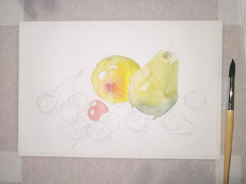 ОНЛАЙН-УРОК по рисованию «Клубника и черешня», изображение №7