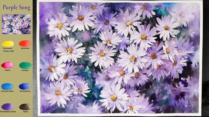 Flower Watercolor Purple Song sketch color mixing NAMIL ART