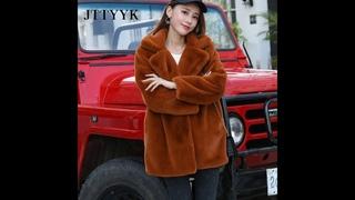 2020 новое зимнее пальто с искусственным кроличьим мехом женское роскошное меховое пальто свободное пальто с отворотом толстая
