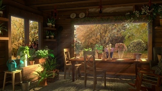 The Beautiful Flower Garden and Bird Sound of the Morning Sun in Autumn. 8 Hours - Forest Sounds