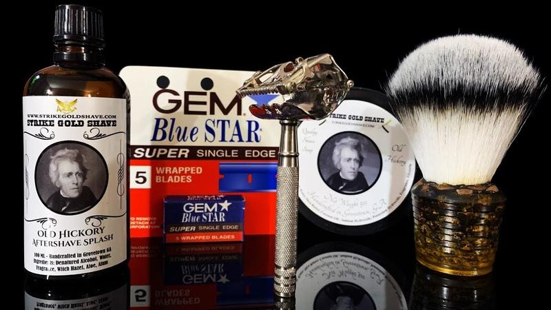 💈 Бритье 100 летним бритвенным станком Kampfe Star Razor Strike Gold Shave Gem Blue Handmade