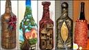 5 Bottle art ideas/Bottle decoration/Wine bottle craft/art and craft