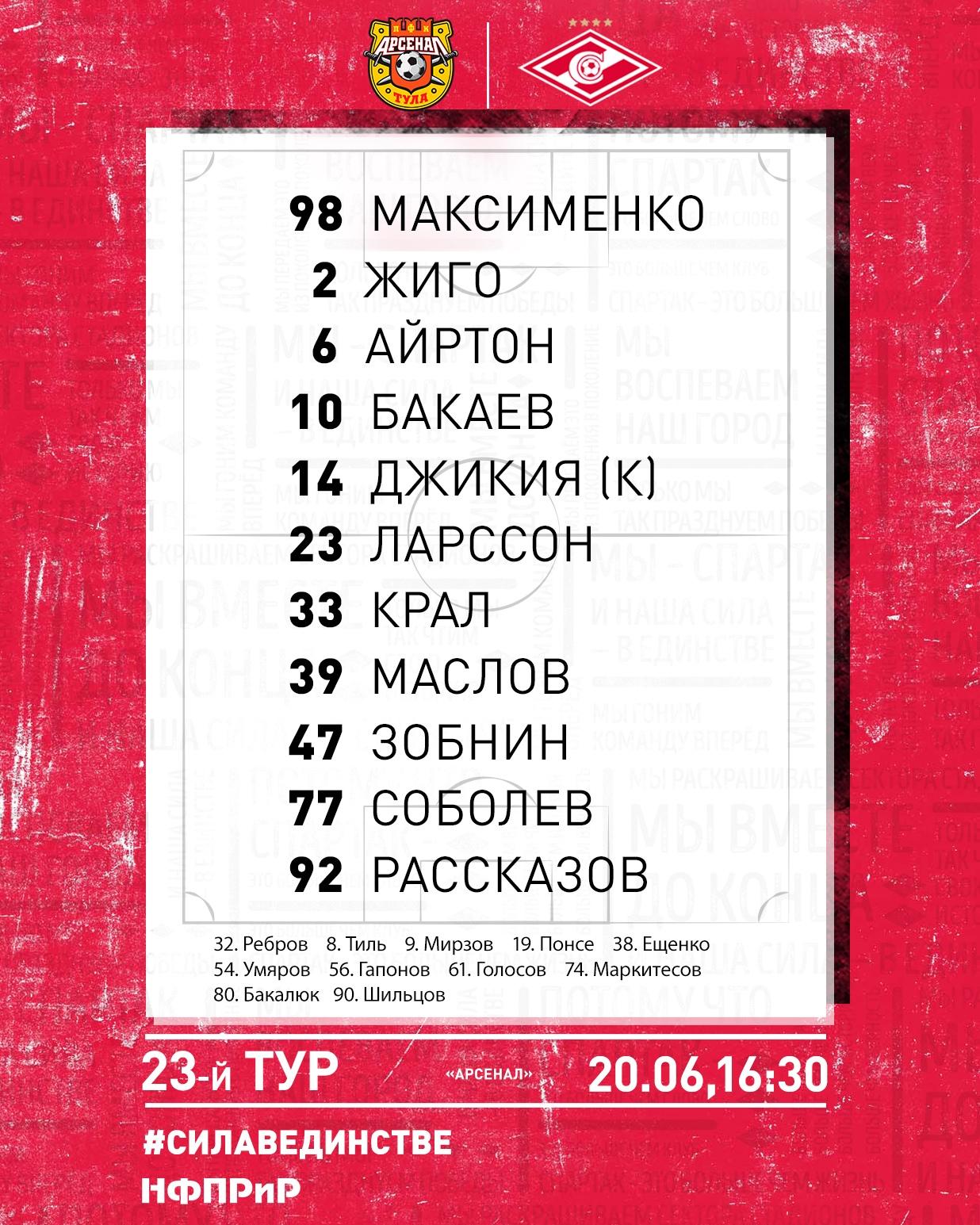 Состав «Спартака» в матче 23-го тура в Туле с «Арсеналом»