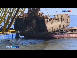 На новой Набережной завершились работы по подъему затонувшего судна