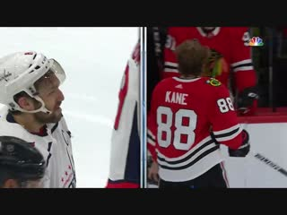 Alex ovechkin and patrick kane fight and confront (ovechkin knocks off kanes he