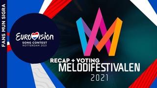 (ВЕРСИЯ ДЛЯ YOUTUBE) Eurovision 2021, Sweden (🇸🇪). Melodifestivalen 2021 (Recap of All Songs + Blog Voting)