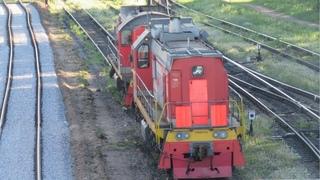 Тепловоз ТЭМ2УМ-750 с грузовым поездом. 4 маневровых тепловоза на станции Псков-Пассажирский