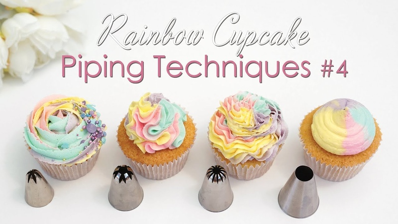 Cupcake Piping Techniques Tutorial 4 With Rainbow Swirls