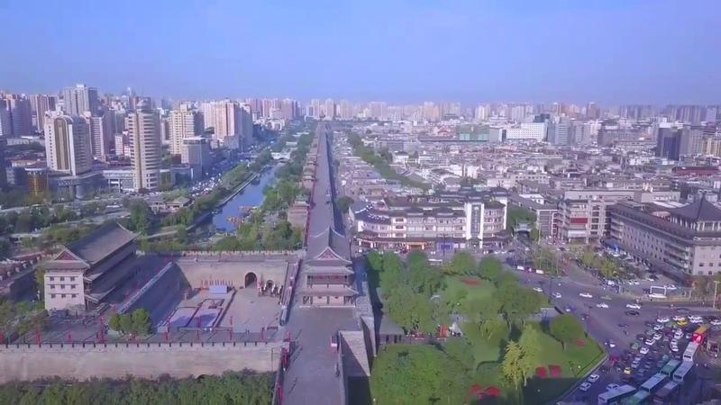 4K DJI Mavic 高清西安古城牆上航拍