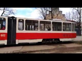 Калининградский трамвай пересекает Каштановую Аллею