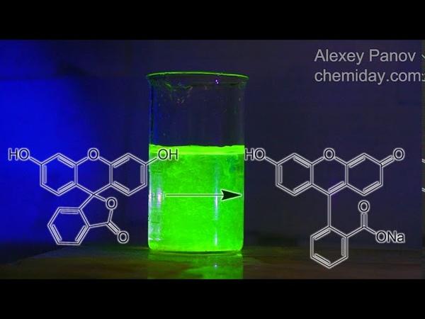 Превращение флуоресцеина в уранин и гашение флуоресценции в присутствии кислоты