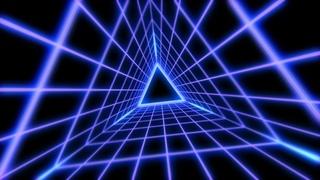 Ретро-футуристический неоновый туннель с треугольной сеткой ¦ Фон для видео ¦ Футаж