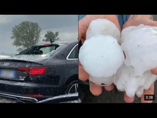 Giant hailstorm hit Fidenza Northern Italy destroyed cars and trees (July 26, 2021)