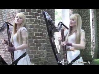 Американские сестры-близнецы игрют на арфах!!! GAME OF THRONES Theme (Harp Twins electric) Camille and Kennerly