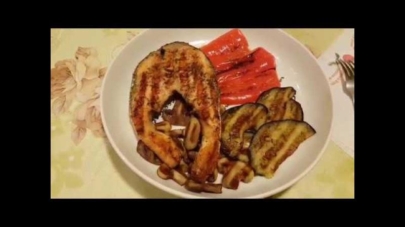 Рыбный стейк и овощи на гриле OptiGril XL от Tefal