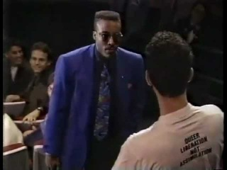 Arsenio Hall stands his ground against protesters supports gay guests.