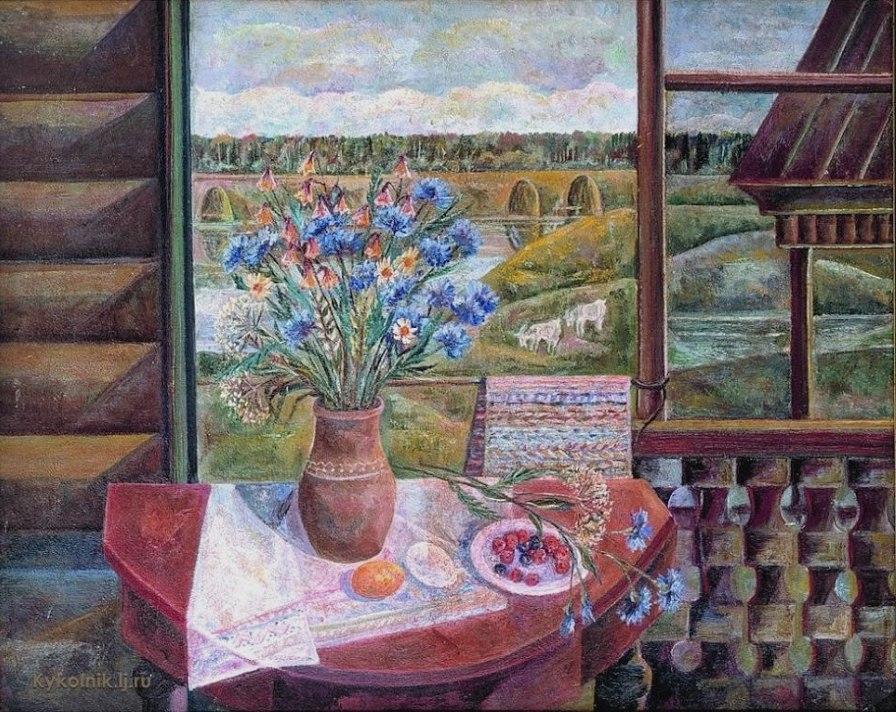 Пантелеев А. В., «Натюрморт с васильками» 1961