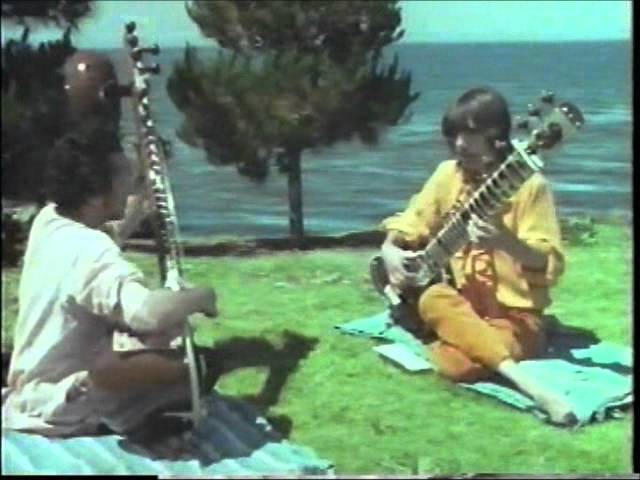 Ravi Shankar teaches George Harrison how to play sitar 1968 Rishikesh India HQ RARE