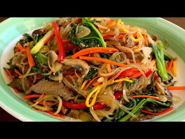 Japchae Glass noodles stir fried with vegetables 잡채