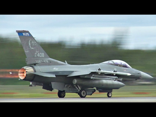 KC-135, F-16, F-15J and A-10 Aircraft Takeoff in RED FLAG-Alaska Exercise