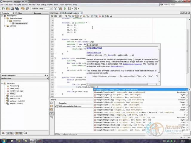 Однослойный перцептрон на Java