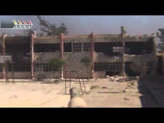 Дуэль танкиста и боевика.Бой за школу в Джобаре. Syria. Jobar.Tanker vs militant duel.
