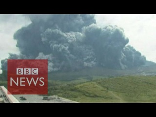 Moment Japanese volcano Mount Aso erupted - BBC News
