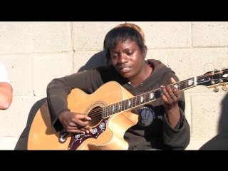 Bob marley redemption song by amazing homeless girl in voices in the sand, america the free