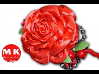 Канзаши мастер-класс. Цветы из лент. Ободок на голову Пышная Роза Канзаши/Rose Kanzashi...