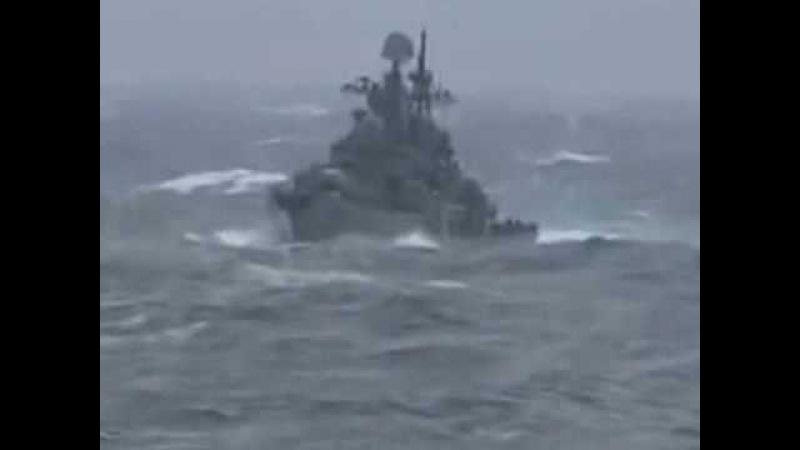 Адмирал Ушаков эскадренный миноносец проекта 956 Сарыч в семибалльный шторм