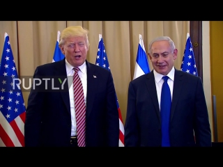 Israel- second times a charm! trump shakes hands with netanyahu after failed first attempt
