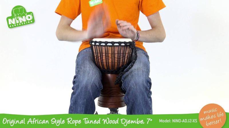 Original African Style Rope Tuned Wood Djembe 7 NINO ADJ2 XS
