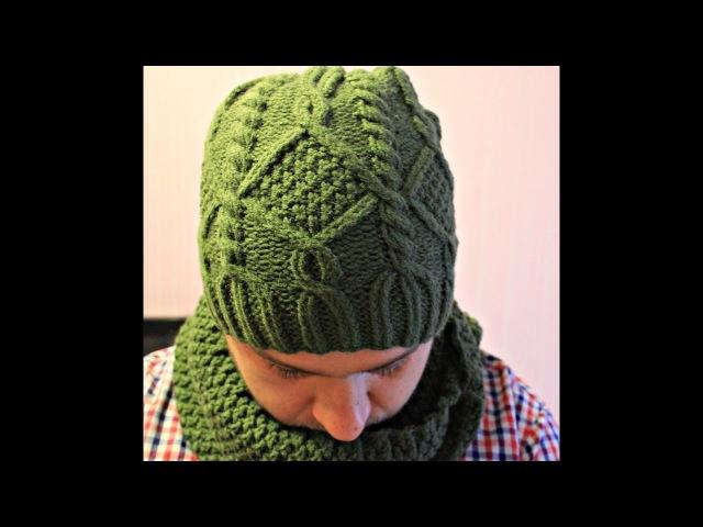 Как связать Мужскую Шапку и Снуд часть 1 How to tie Men's hats Part 1