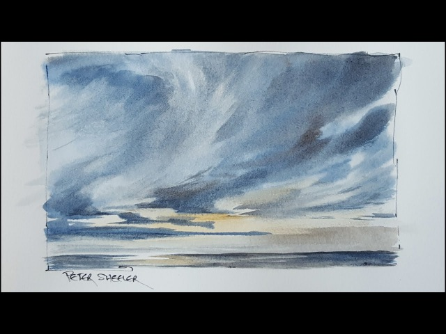 How to paint a Dramatic Sunset Sky in Watercolor Just 3 colors Peter Sheeler