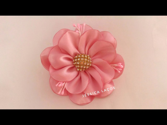 DIY PAP Flor de cetim facil satin flower Easy satin flower
