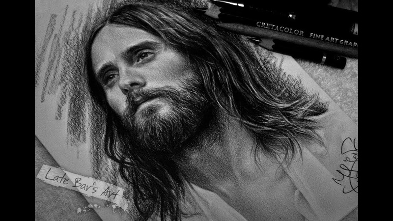 Drawing Jared Leto pencil portrait Timelapse Late Bar's Art by Jane Negoda