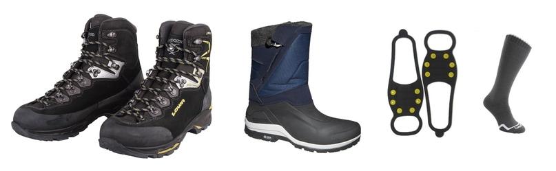 Слева направо: ботинки и сапоги для хайкинга, ледоходы, термоноски