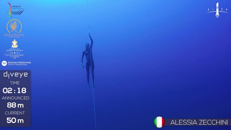 AIDA WCh Roatan 2017 Alessia Zecchini FIM GOLD