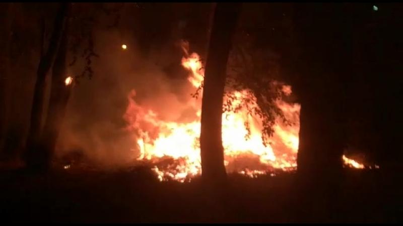 Пожар в больничном городке на Хромпике