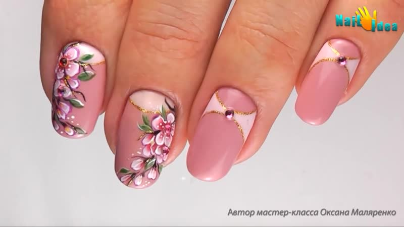 Дизайн ГЕЛЬ ЛАКАМИ Ветка Сакуры Рисунок на ногтях цветы Урок росписи ногтей