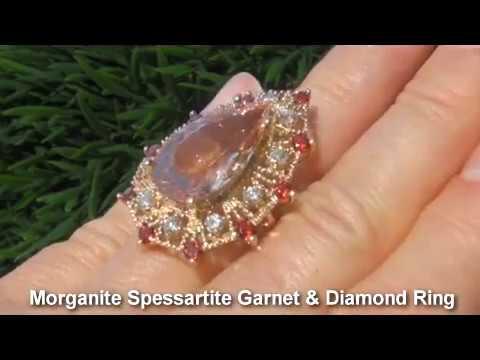 GIA Certified Authentic Buccellati Morganite Spessartite Garnet Diamond Estate Ring