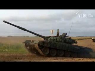 - Под Уссурийском танк Т-72 во время передвижения военной колонны свалился в кювет