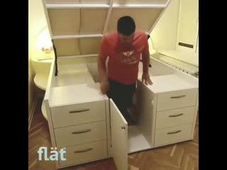 Экономим пространство с помощью кровати-шкафа