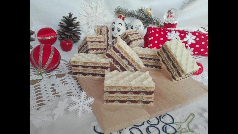 Сербский вафельный торт с масляно- ореховым с печеньем и шоколадно- масляным с орехами печеньем кремами Šarena oblanda na štrafte Domaće napolitanke - Kuhinja Sunčane Staze