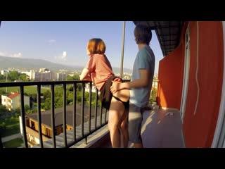 Красивый секс с рыжей сучкой на балконе/ sex