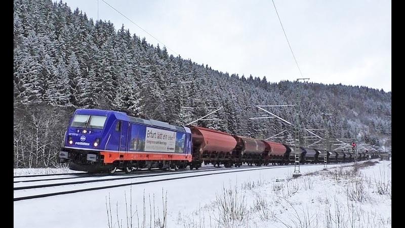 Günni Güterzug schiebt Panzerzug, TXL, Raildox, Schnee uvm. auf der Frankenwaldbahn