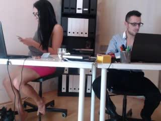 Risky nude in office web cam